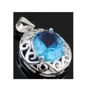 925 Sterling Silver Light Blue Crystal Pendant